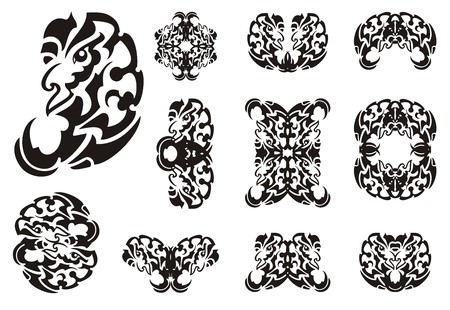 Tribal freakish dragon symbols. Big collection of the twirled wavy symbols of the dragon head for the decorative purposes. Black on the white