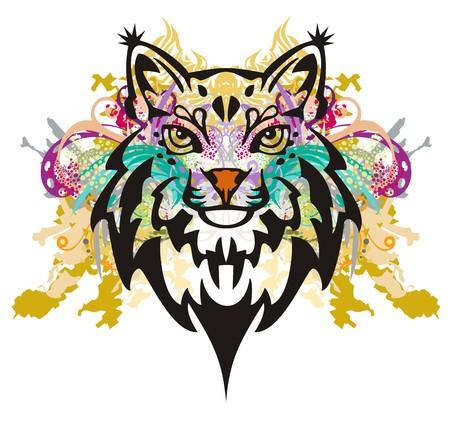 lynx: Grunge lynx head. Colorful splashes of a lynx head on a white background