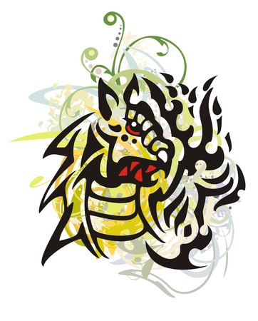 furious: Grunge tribal dragon. Bloody furious dragon head with colorful floral splashes