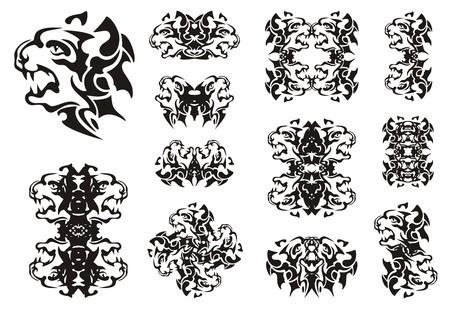 Tribal aggressive dog symbols. The twirled symbols of the head of the furious barking dog