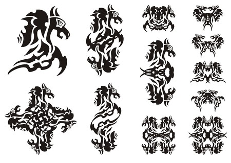 twirled: Flaming winged dragon symbols. Double symbols of a dragon, a butterfly of a dragon and dragon patterns isolated on white