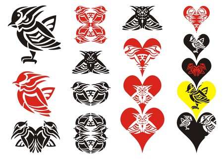wasp: Tribal bird and hearts. Little striped bird in the form of a wasp, the collection of hearts and symbols formed from a bird Illustration