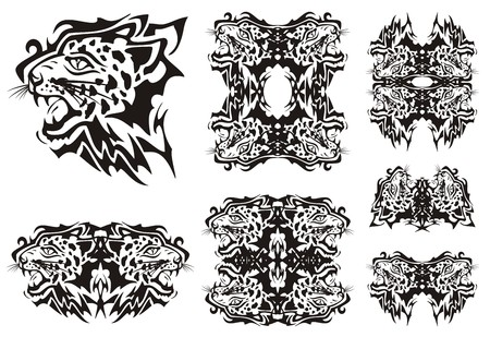 imperious: Tribal leopard symbols. Tribal furious leopards heads symbols and frames ready for a tattoo, graphics on the vehicle, also for labels, stickers and emblems, T-shirt designs