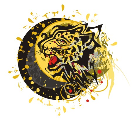 imperious: Grunge tribal leopard circle. Tribal furious leopard head splashes with blood drops against the decorative sun ready for a tattoo, graphics on the vehicle, also for labels, stickers and emblems, T-shirt designs Illustration
