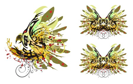 Grunge parrot and butterfly. Psychedelic colors parrot splashes and butterfly wings with blood drops. Three options
