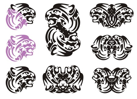 growling: Tribal tiger head symbols. Flaming growling tiger head in violet and black color and double symbols of the tiger head Illustration