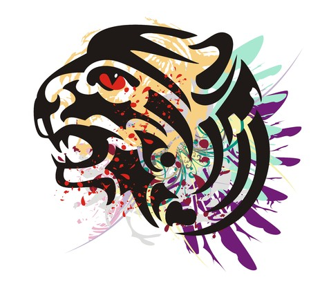 growling: Grunge growling tiger head. Flaming tiger head with feathers and blood drops