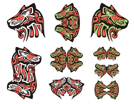 Haida wolf head tattoos. Tribal double symbols of the wolf head executed in black, red and green color Illustration