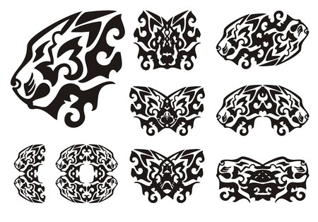 stately: Tribal lion head symbols and lions butterflies. Flaming two-headed lion, butterflies formed by the head of a lion and other lions symbols. Black on the white