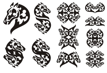 twirled: Tribal laconic horse head symbols. Set of elegant double horse symbols. Black and white