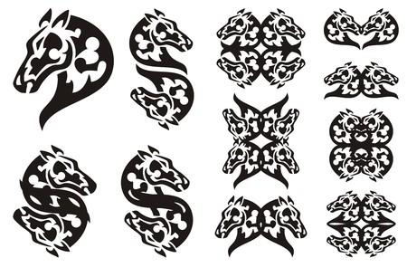 laconic: Tribal laconic horse head symbols. Set of elegant double horse symbols. Black and white