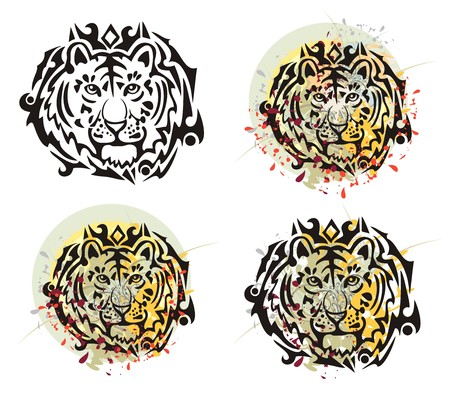 stately: Tribal tiger head splashes. Grunge tiger head with floral splashes and blood drops opposite to the decorative sun. Four options Illustration