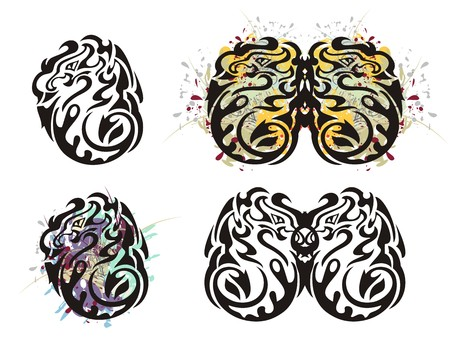 twirled: Tribal twirled dragon and dragon butterfly. Grunge colorful dragon splashes