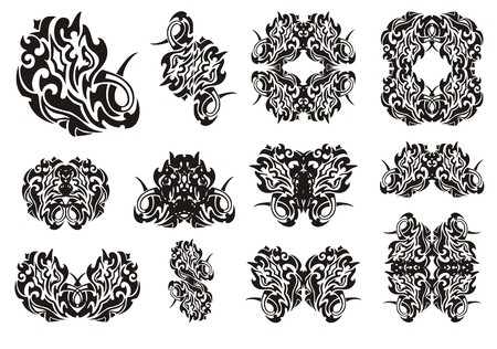 twirled: Twirled symbols set. Set of snake symbols, butterflies tattoos and frames