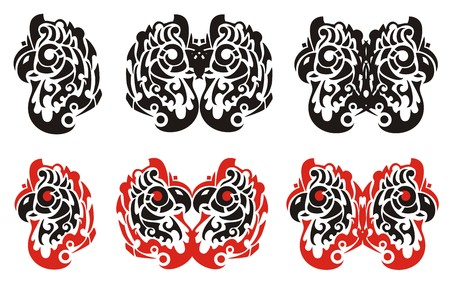 twirled: Tribal parrot head symbols. Parrot head and butterfly form haida style design