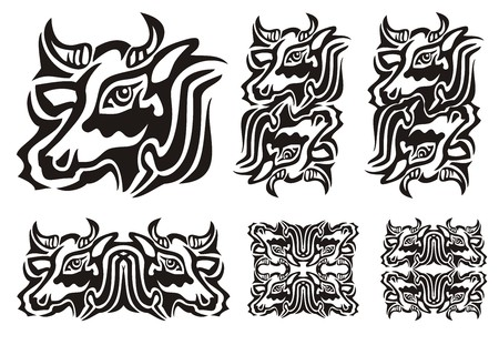 twirled: Tribal cow symbols. Vector illustration of a cow black and white. The double twirled decorative symbols of the cow head isolated on a white background
