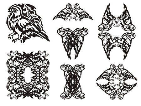 Tribal dove symbols. Frames of a dove and double pigeon symbols. Black on white