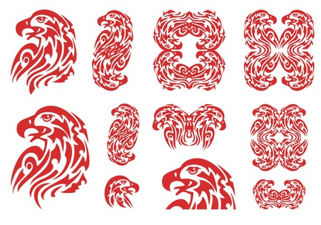Tribal flaming aggressive eagle symbols. The set of the burning eagle heads, double eagle symbols and eagle frames, great for vehicle graphics, stickers and t-shirt designs