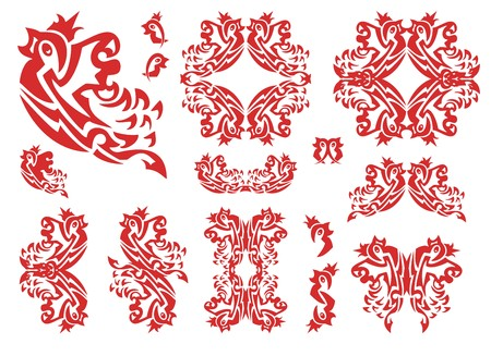 Flaming tribal bird set. The flying sparrow with a crown, sparrow frames, double bird symbols. Red on white