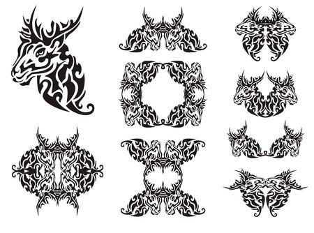 Tribal deer symbols. Flaming decorative deer head symbols and deer frames for your design Illustration