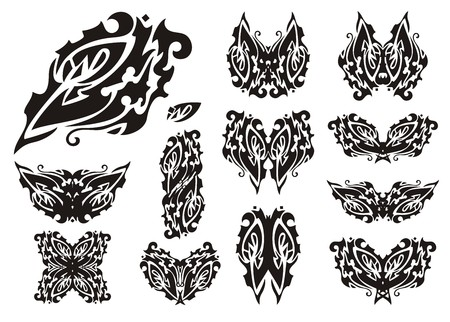 Tribal eye and butterflies from it. Ornate tattoos of butterflies and eyes in the butterfly wing form for your design Illustration