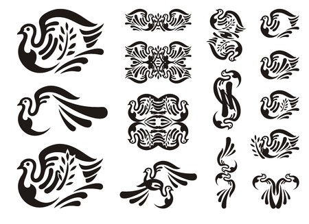 Tribal dove icons. Black and white symbols of a pigeon with a branch - a peace symbol