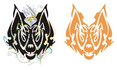 Tribal grunge fox. The head of a fox with floral splashes and the stylized fox head - two options on a white background
