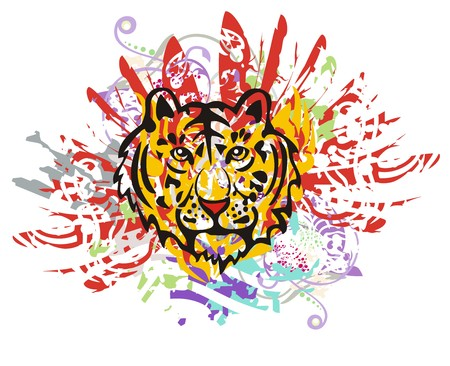 growling: Grunge tiger head with red feathers. Tribal tiger head with colorful splashes