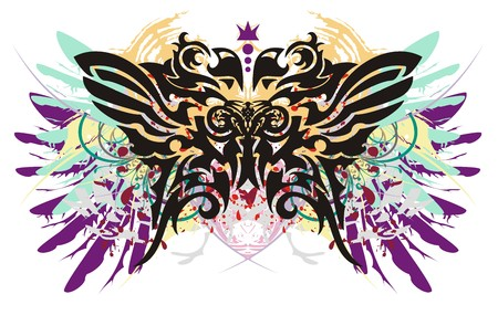 Grunge parrot butterfly. Tribal butterfly with colorful feathers splashes and blood drops Illustration