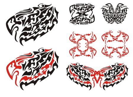 Tribal eagle symbols and eagle frames. Flaming eagle head symbols, Haida Eagle Style Tattoo and double eagle symbols