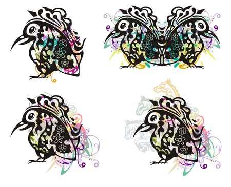 Grunge freakish bird. Ornate bird with a long beak. Tribal birds symbols with colorful floral splashes and horse elements