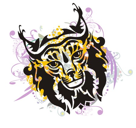 Tribal grunge lynx head. Grunge lynx head in orange violet splashes