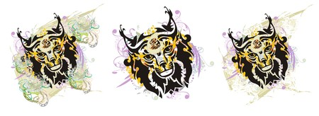 Grunge lynx head splashes. Tribal lynx head turn with colorful floral elements and tiger head inside. Three options