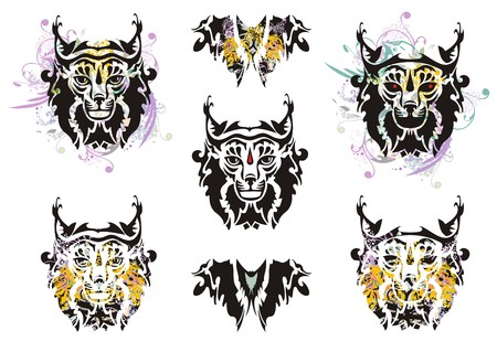 Lynx set splashes with floral elements. Tribal demonic lynx head symbols and butterfly form