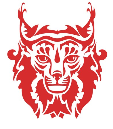 gazing: Flaming lynx head. Close-up of a stylized Eurasian Lynxs head in front of a white background