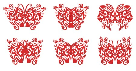 twirled: Flaming butterfly set. Illustration of the flaming butterflies in tribal style Illustration