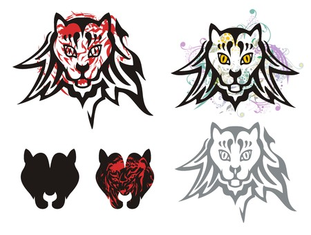 Tribal cats head symbols. Abstract symbols of the cats heads. Grunge head of a cat and icons of the cats head
