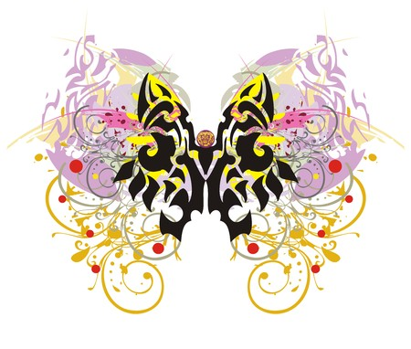 twirled: Grunge colorful butterfly splashes. Scary tribal butterfly symbol with colorful floral elements