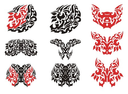 Tribal butterfly wing tattoo and butterflies tattoos. Flaming butterflies symbols in red and black options isolated on a white background