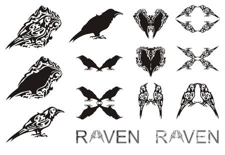 Tribal raven symbols. The stylized raven symbols, raven silhouette, writing of a raven for your design. Black on white Illustration