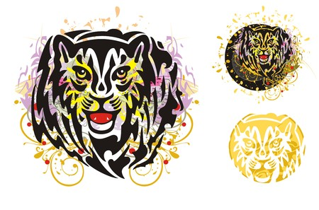 roundish: Grunge tribal tiger head splashes. Growling young tiger head splashes in a circle. Grunge orange and violet floral elements tiger head and roundish sunny tiger head