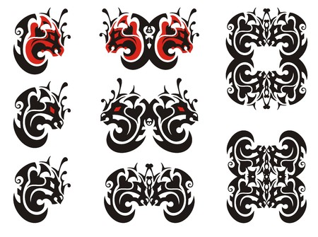 twirled: I twirled dragon symbols. Tribal unusual dragon head in the form of the moon, a butterfly of a dragon and a dragon frame