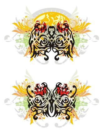 twirled: Grunge tribal dragon butterflies. Two options of a butterfly of a dragon with colorful floral splashes against the decorative sun