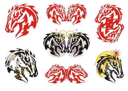 twirled: Flaming horse head symbols. Set of tattoos of the horse head in tribal style and in style grunge.