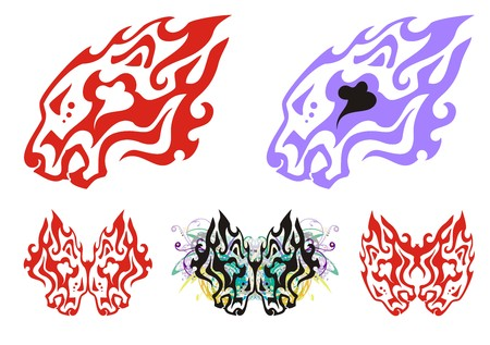 stately: Flaming tribal lion head symbols. Tattoo of the growling lions head.