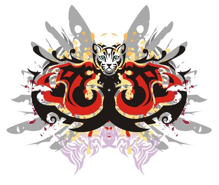 twirled: Two head of a dragon in grunge style. Tribal twirled dragon heads against gray wings with blood drops