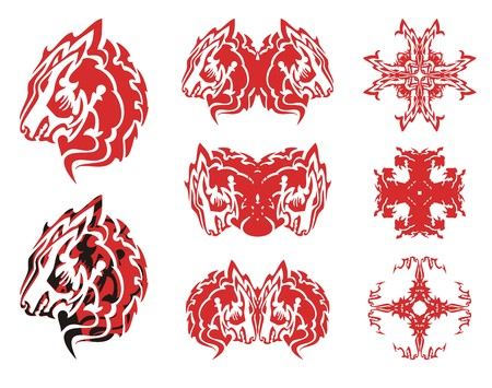 Red wolf head symbols and crosses from it. Tribal flaming wolf head symbols, double wolf head symbols and crosses formed from it ready for a tattoo, etc.