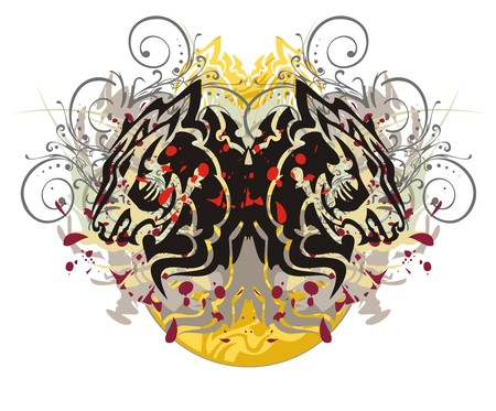 Grunge wolf butterfly. Double symbol of the wolf head with floral splashes and blood drops against the decorative sun