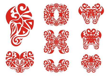 smoothness: Flaming bird elements. Set of decorative elements and double symbols of a bird for your design. Red on white