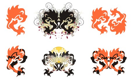 Stylized eagle symbols. Flaming attacking eagle, double symbols of an eagle in grunge style